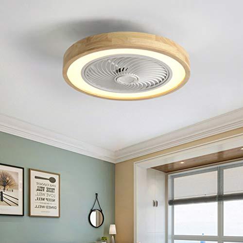 Holz Deckenventilator mit Beleuchtung LED Licht, Invisible Fan Deckenleuchte Dimmbar mit Fernbedienung, Leise Ventilator lampe, Deckenlampe für Schlafzimmer Esszimmer Kinderzimmer Wohnzimmer, Ø50cm