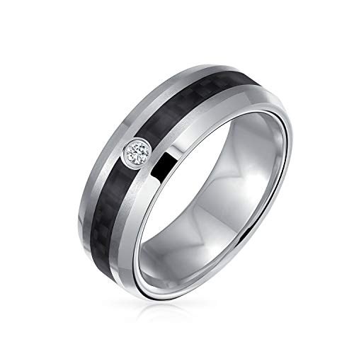 .10 CT Diamond Accent Black Silver Two Tone Stripe Round Bezel Titanium Wedding Band Ring For Men Comfort Fit 7MM (0.1 Ct Diamond Bezel)