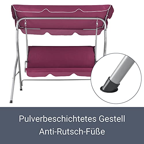 ArtLife Hollywoodschaukel 3-Sitzer mit Dach & Sitzauflage – Gartenschaukel 200 kg belastbar – Schaukelbank für Garten & Terrasse – rot - 4