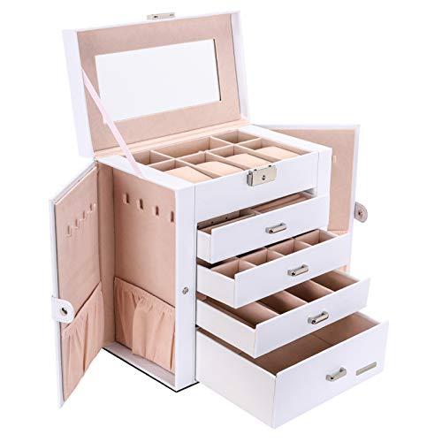Seelux Caja de joyería 4 cajones Caja para Joyas, con Espejo, para Pendientes, Pulseras, Anillos, Almacenamiento y Expositor, Relojes, Gafas, Bloqueable Blanco