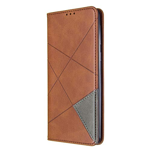 Lomogo Galaxy A21 Hülle Leder, Schutzhülle Brieftasche mit Kartenfach Klappbar Magnetisch Stoßfest Handyhülle Case für Samsung Galaxy A21 - LOBFE160412 Braun
