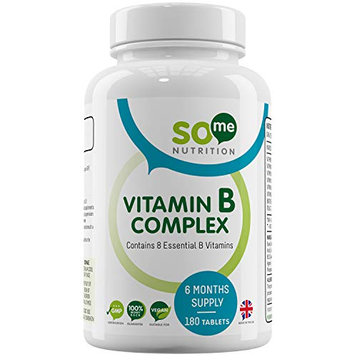 Vitamin B Complex - 180 Tablets - 6 Month Supply - All 8 B Vitamins in 1 Tablet, Vitamins B1, B2, B3, B5, B6, B12, Biotin & Folic Acid - Made in The UK by So Me Nutrition