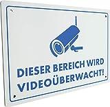 SCHWAIGER -5590- Warnschild Videoüberwachung aus Aluminium klein/Dieser Bereich Wird Videoüberwacht Schild/Einbruchschutz/witterungsbeständig