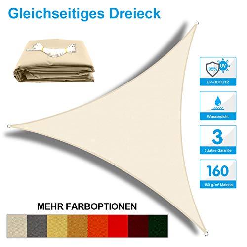OKAWADACH Toldo Vela de Sombra Triangular 2 x 2 x 2m, protección Rayos UV Impermeable para Patio, Exteriores, Jardín, Color Crema