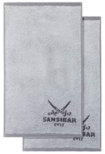 Sansibar Gästetuch Doubleface Handtuch Seiftuch Zweifarbig 100% Baumwolle 50x30 cm Silber/Anthrazit 2er Set