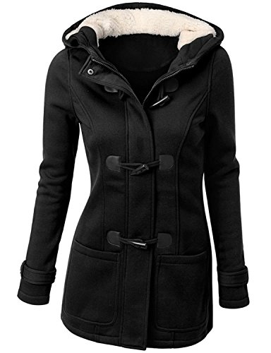 Annystore Womens Black Pea Coat Winter Wool Blended Pockets Hooded Duffle Toggle Coat Outerwear L