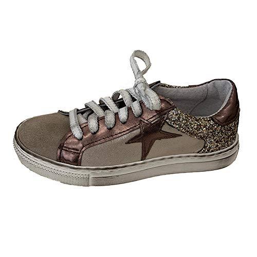 sneakers donna ovye Ovyè by Cristina Lucchi Art. AM 503B Champagne Scarpe con Glitter sul Retro e Stella Laminata in Pelle (31 EU)