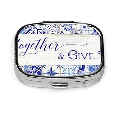 Fashion Square Pill Box Medizin Aufbewahrungstasche Tasche Medizin Tasche Aufbewahrungstasche Bauernhaus-blau-weiß-Fliese-7-versammeln-zusammen-geben-danke