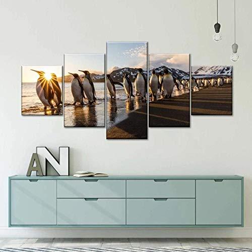 ARIE Mural Moderno 5 Piezas Vida De Pingüino Art Imagen para Decoración del Hogar 5 Piezas Pinturas Moderna Enmarcado Arte Navidad Obsequio
