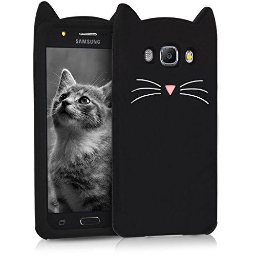 kwmobile Cover Compatibile con Samsung Galaxy J5 (2016) DUOS - Custodia in Silicone TPU - Copertina Protettiva Back Case Backcover - Gatto Nero/Bianco