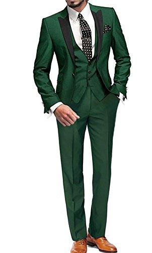GEORGE BRIDE Herren Anzug 5-Teilig Anzug Sakko,Weste,Anzug Hose,Krawatte,Tasche Platz 002,Grün XXL
