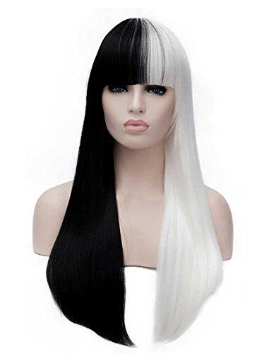 Tsnomore Mode lange Gerade Halb weiße halbe schwarze volle Knall-Frauen Cosplay synthetische Perücke