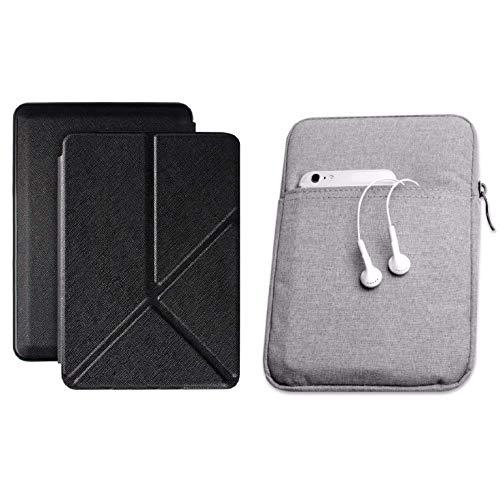 Capa Kindle Paperwhite 10ª geração à prova d'água Preta Origami - Função Liga/Desliga - Fechamento magnético + Bolsa Sleeve Cinza Claro