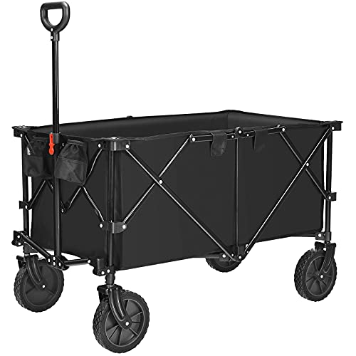 COSTWAY Folding Camping Wagon, Collapsible Beach Garden Trolley with Cup...