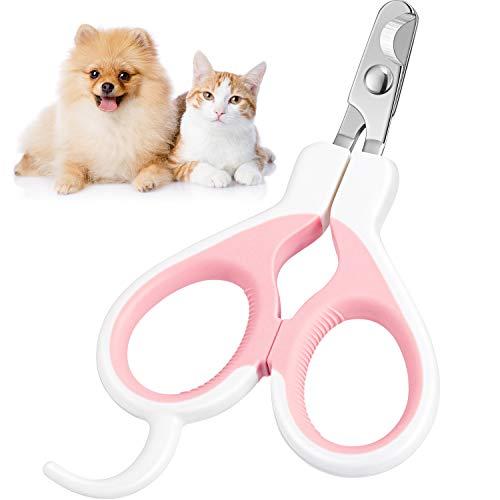 Cortaúñas de Gato Recortador de Uñas de Mascotas Cortador Podadoras de Garras de Perro Tijeras de Garra de Aves Herramienta de Cuidado de Uñas de Aseo de Mascotas (Rosa y Blanco)