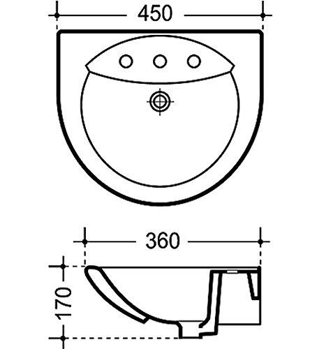 Ideal Standard Handwaschbecken Clean Novella , 45 x 36 cm , weiß