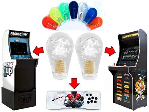 Alvatron Set of 2 Transparent Joystick Bat Top Handles Clear Oval Translucent Ball Tops for Arcade1up, Atgames Legends Ultimate Arcade, Pandora