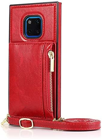 SLDiann Case for Huawei Mate 20 pro, Zipper Wallet Case with Credit Card Holder/Crossbody Long Lanyard, Shockproof Leather TPU Case Cover for Huawei Mate 20 pro (Color : Red)