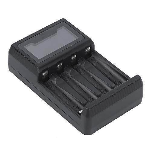 Pusokei Cargador de batería Universal LCD, Cargador de batería AA AAA de 4 bahías para baterías Recargables para Carga de Celdas de Ni-MH, protección contra sobrecorriente