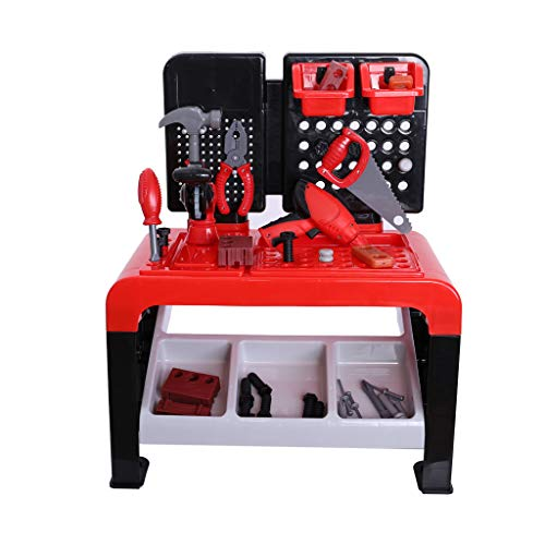 Auwish Boy Tool Workshop - Kids Play Workbench Tools Set Construction Toys Plastic DIY Repair Kit Playset Working Table (46 Pieces Best boy Toys, Red)