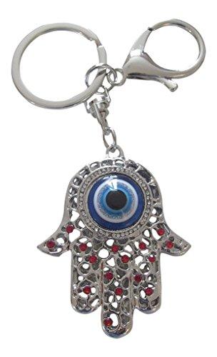 Taschenschmuck, Schlüsselanhänger, Hand der Fatima, Fatima, Auge, versilberter Stahl und rote Strasssteine.
