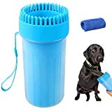 Soneer Dog Paw Cleaner,Portable Pet Paw Cleaner,Dog Foot Washer Massager,Comfortable Silicone Pet Cleaning Brush Cup with Towel for Dogs Cats Massage Grooming Dirty Claws (Blue)
