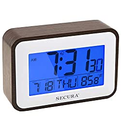 Secura Digital Alarm Clock Battery Operated with Snooze, Blue LED Backlight, Temperature Display for Bedrooms, Bedside, Desk, Shelf(Coffee)