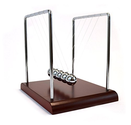 EISCO Labs Advanced Newton's Cradle with Red Wood Base, 4.3 g Ni Plated Steel Balls