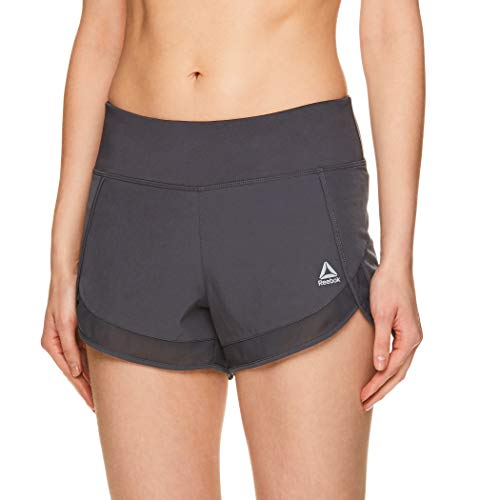 Reebok Women's Athletic Workout Shorts - Gym Training & Running Short - 3 Inch Inseam - Power Medium Grey, Medium