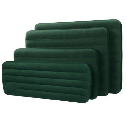 INTEX Luftbett mit Fußpumpe, grün, 2-in-1 Ventil, Beflockte Liegeflöche: Luftbett mit Pumpe Matratze Luftmatratze Göstebett Camping Bett Einzelbett