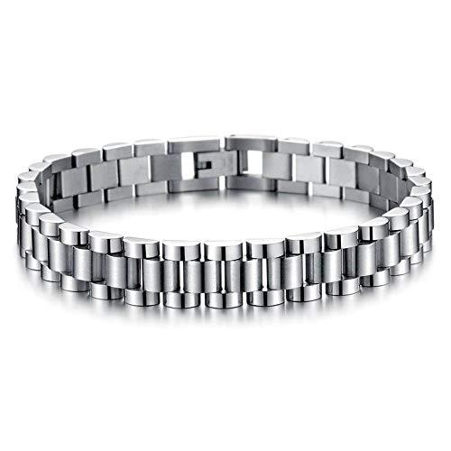 Pulsera de acero inoxidable para hombre, cadena de reloj, accesorios de joyería, regalo para parejas, hombres y niños