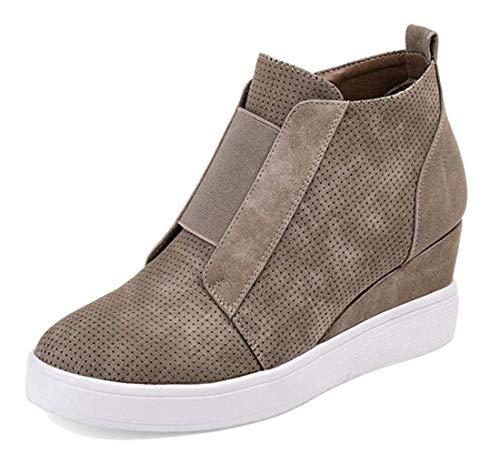 Minetom Botas para Mujer Zapatilla Zapatillas Zapatos De Cordones Estilo Deportivo Caqui 42 EU