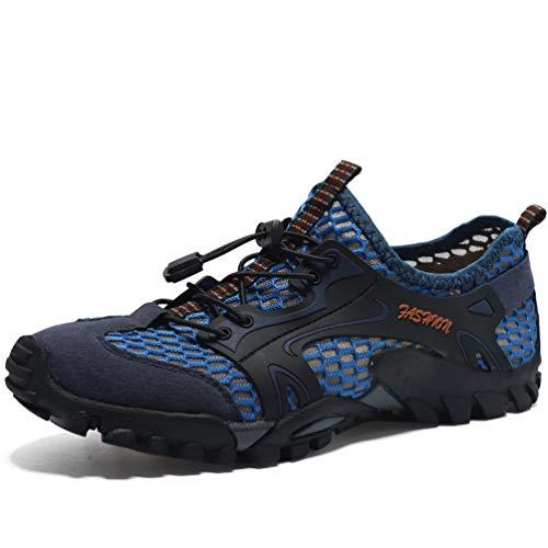 FLARUT Herren Sommer Trekking Sandale Wanderschuhe Super Atmung Draussen Hiking Schuhe Mesh Vamp Wasserschuhe Sport Laufen Klettern (46EU, Blau)