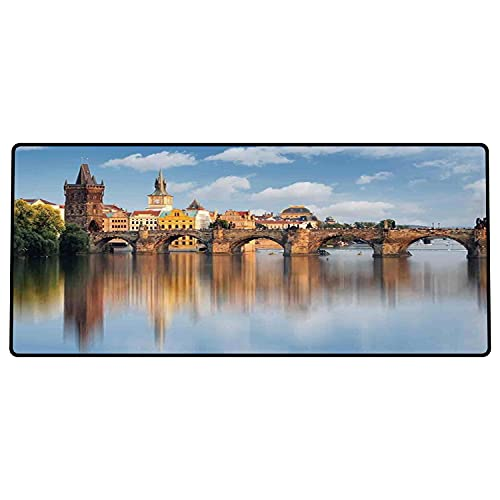 Alfombrilla de ratón para Juegos 800x400x3mm,Wanderlust Decor, el Puente de Carlos en Praga República Checa Reflexión sobre Las Torres del río Base de Goma Antideslizante, Adecuada para Jugadores