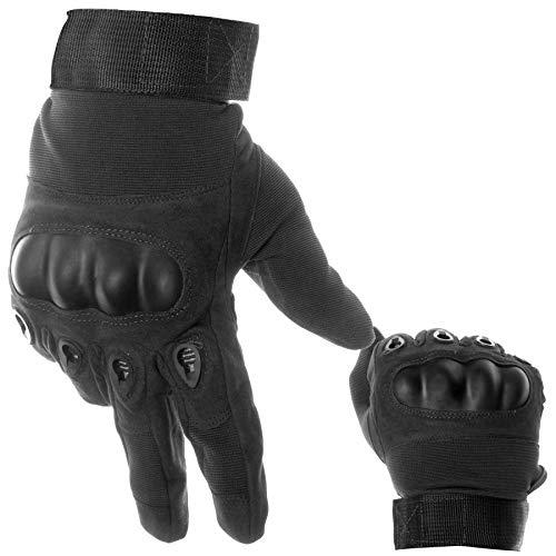 BearCraft Atmungsaktive Motorradhandschuhe | Taktische Handschuhe Vollfinger | Fäustlinge für Sport und Motorrad (schwarz, XL)