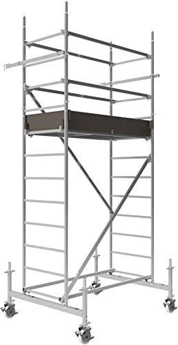 ALTEC Rollfix 400, Arbeitshöhe 4 m neu, inkl. höhenverstellbarer Rollen (Ø 150 mm), Fahrtraverse und Wandanker, TÜV-geprüft,