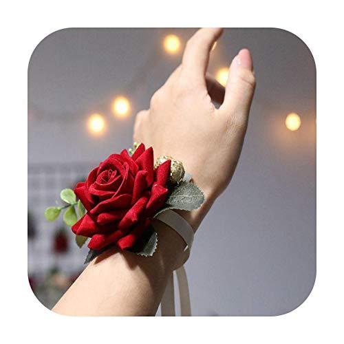 Hopereo Bridemaids Accessoirs Rose Broche de seda Corsage Pulsera de boda Pulseras Corsages Prom Pulseras mano ramillete flores muñeca estilo caliente 2