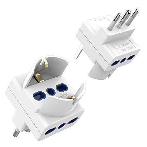TESSAN Adattatore Presa Tripla 2 Packs, Presa Adattatore con 2 Prese Bivalenti 10A / 16A e 1 Prese Schuko , Multipresa Elettrica di Spina Italiana 16A, Presa Tripla per Caricare Laptop, Bianco