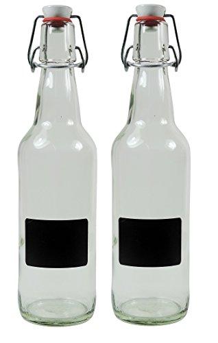 mikken - 2 x vacías de 500 ml con cierre de clip de porcelana para rellenar, incluye 2 etiquetas de rotulación botella de cristal, cristal, transparente, 22 x 8,3 x 8 cm, 2 unidades, #61879#