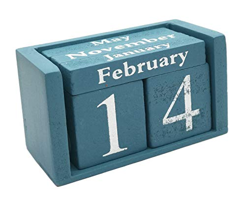 Small Wooden Desk Blocks Calendar - Perpetual Block Month Date Display Home Office DecorationBlue), 3.7 x 2.1 x 1.7 inches
