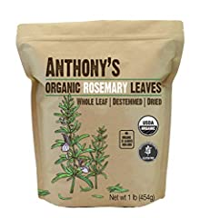 USDA Certified Organic Rosemary Leaves Batch Tested and Verified Gluten Free Product of Egypt, Packed in California Non GMO, Whole Leaf, Destemmed, Dried, Food Grade Perfectly Compliments Meats, Baked Goods, Soups, Roasted Vegetables, Sauces and More...