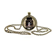 Steampunk Black and White Cat Necklace Pendant, Vintage Bronze Animal Jewellery for Women #1