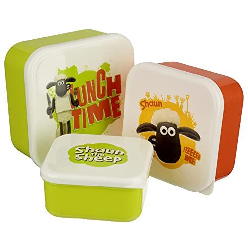 Puckator Shaun The Sheep Reusable Lidded Snack Pot Lunch Box Set of 3, BPA Free PVC, Work School Travel Home, Large 5.5x11.5x11.5cm Medium 4.5x10x19cm Small 4x8.5x8.5cm