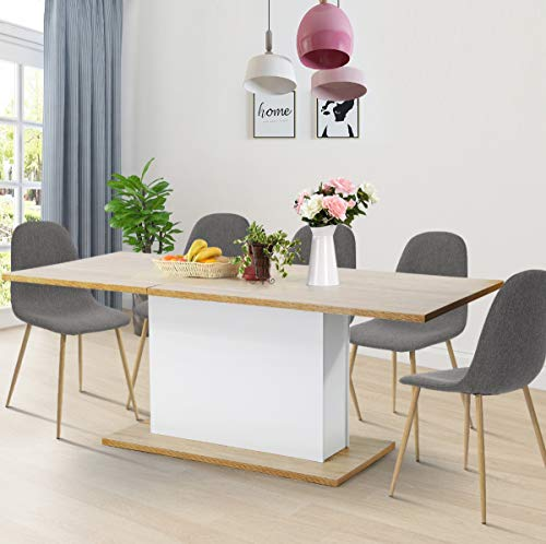 Geniqua Extensible Table 6-8P 63' to 80' Wooden Oak White Stylish and Economical