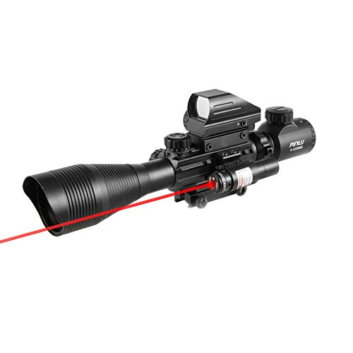 Pinty Rifle Scope 4-12x50EG Rangefinder Mil Dot Tactical Reticle Scope with Laser Sight and Red Dot Sight