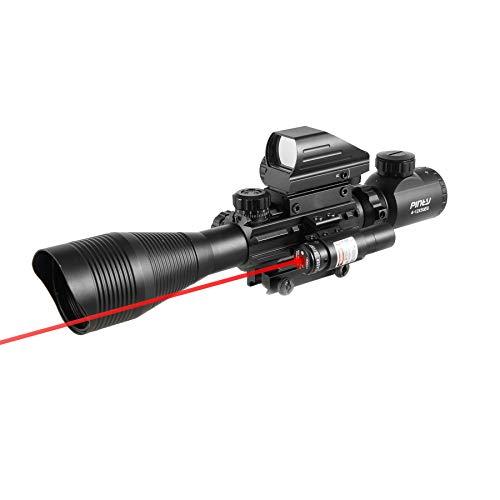 Pinty Rifle Scope 4-12x50EG Rangefinder Mil Dot Tactical Reticle Scope
