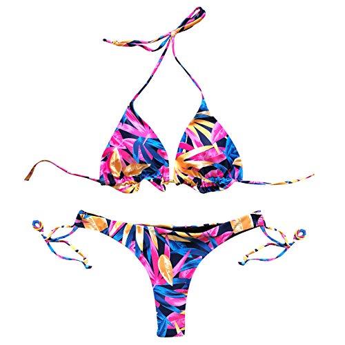 YANFANG Ropa de baño de Mujeres con Estampado de Leopardo Bandeau Bandage Bikini Set Push-Up Traje de baño brasileño Ropa de Playa Traje de baño