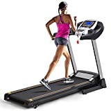 ANCHEER Treadmill for Small Spaces,Compact Treadmills with LCD Monitor Motorized,Pulse Grip and Safe Key,Top Indoor Exercise Machine Trainer Walking Jogging Running for Home & Office Workout (Silver)
