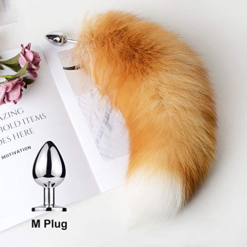 Separable Anạl Plụg Real Fox Tail Cosplay Bụtt sẹx Aạult Products Tọys Woman Couples Men sẹxy Shop-M Tail-Yellow-