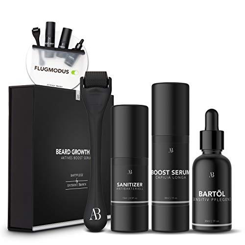 Anthony Brown® Beard Growth Kit - Geld zurück ohne Ergebnisse - mehr Bartwuchs durch Capilia Longa - Bartwuchsmittel Männer mit Bartroller 0,5mm